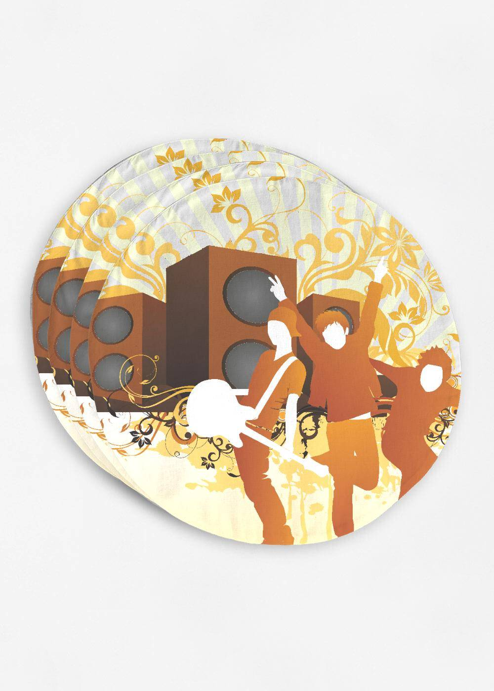 VIDA Placemat Set - Music Background by VIDA Original Artist  - Size: Set of 4