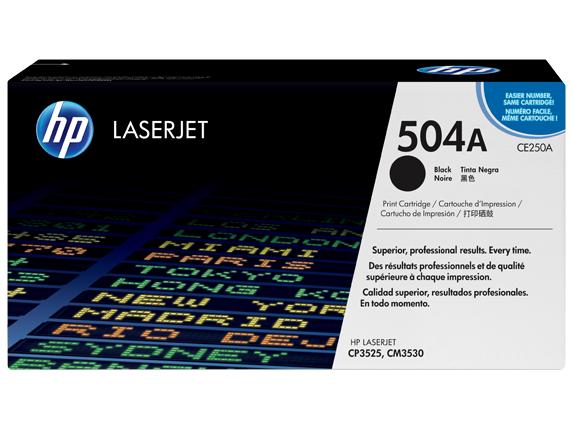 HP 504A Black Original LaserJet Toner Cartridge, CE250A -