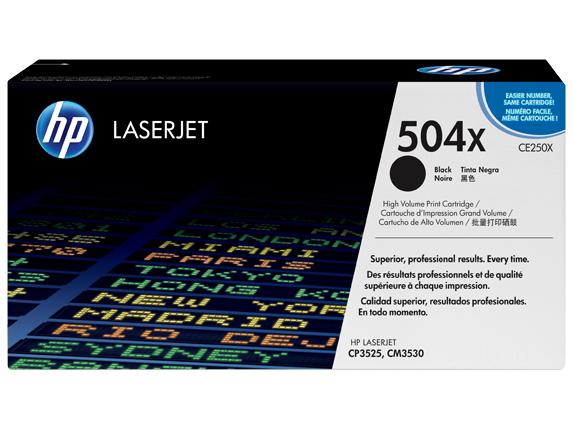 HP 504X High Yield Black Original LaserJet Toner Cartridge, CE250X -