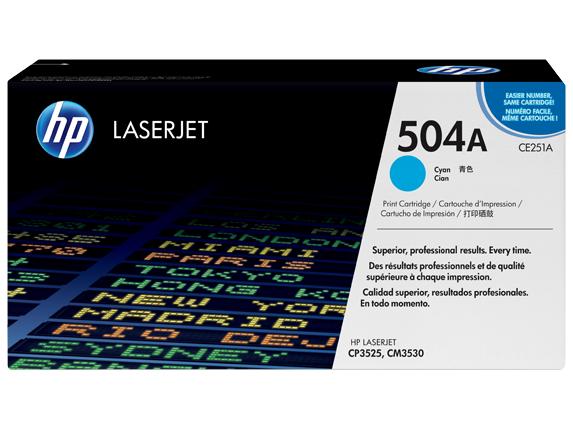 HP 504A Cyan Original LaserJet Toner Cartridge, CE251A -