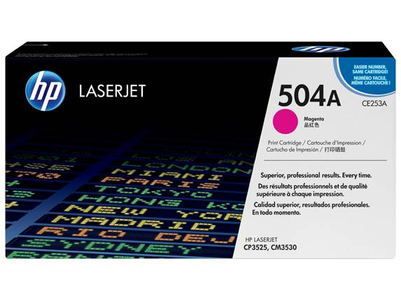 HP 504A Magenta Original LaserJet Toner Cartridge, CE253A -