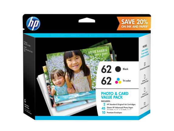 HP 62 Photo and Card Value Pack-30 sht/4 x 6 in and 15 sht/5 x 7 in, K3W67AN#140 -