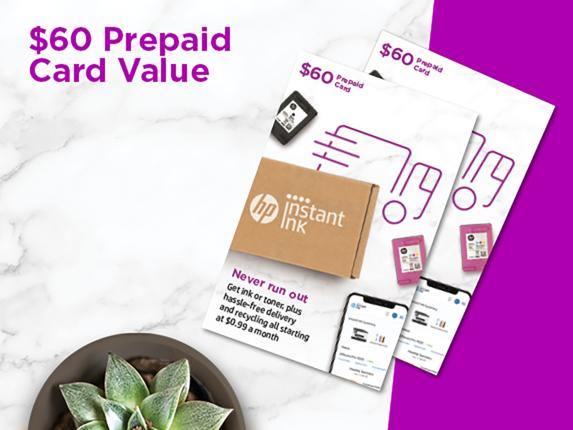 HP Instant Ink Prepaid Card ($60) 6ZB44AN -