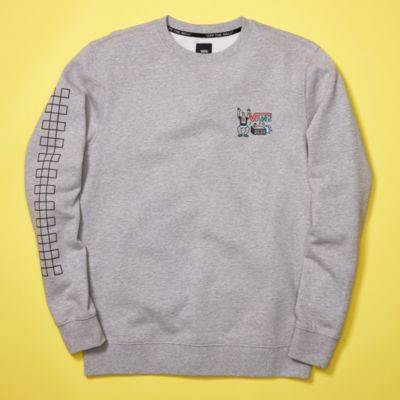 Vans Family Holiday Music Crew Pullover (Cement Heather)  - Size: adult