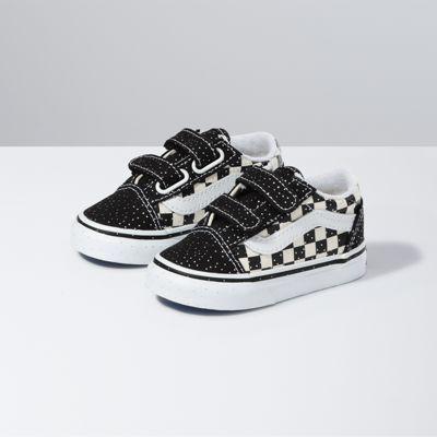 Vans Toddler Confetti Old Skool V (Black/True White)  - Size: toddler