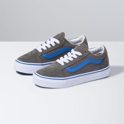 Vans Kids Pop Old Skool (Gargoyle/Nebulas Blue)  - Size: kids
