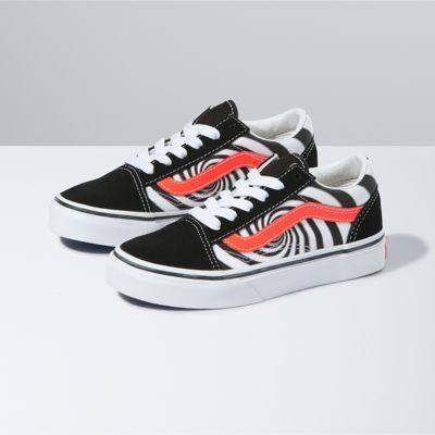 Vans Kids Swirl Old Skool (Black/Fiery Coral)  - Size: kids