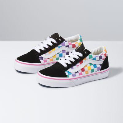 Vans Kids Checkerboard Old Skool (Rainbow/True White)  - Size: kids