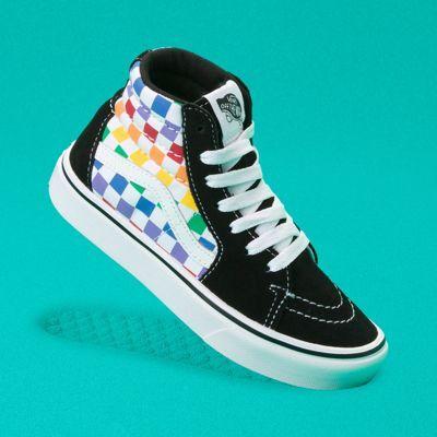 Vans Kids Checkerboard ComfyCush Sk8-Hi Zip (Rainbow/True White)  - Size: kids
