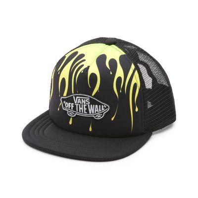 Vans Boys Classic Patch Trucker Plus Hat (Black/Slime)  - Size: kids