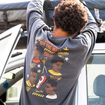 Vans Mikey February Long Sleeve T-Shirt (Overdye Black)  - Size: adult