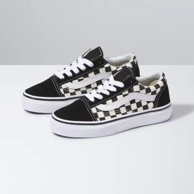 Vans Kids Primary Check Old Skool (Black/White)  - Size: kids