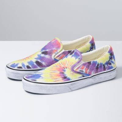 Vans Washed Classic Slip-On (Tie Dye/True White)  - Size: adult