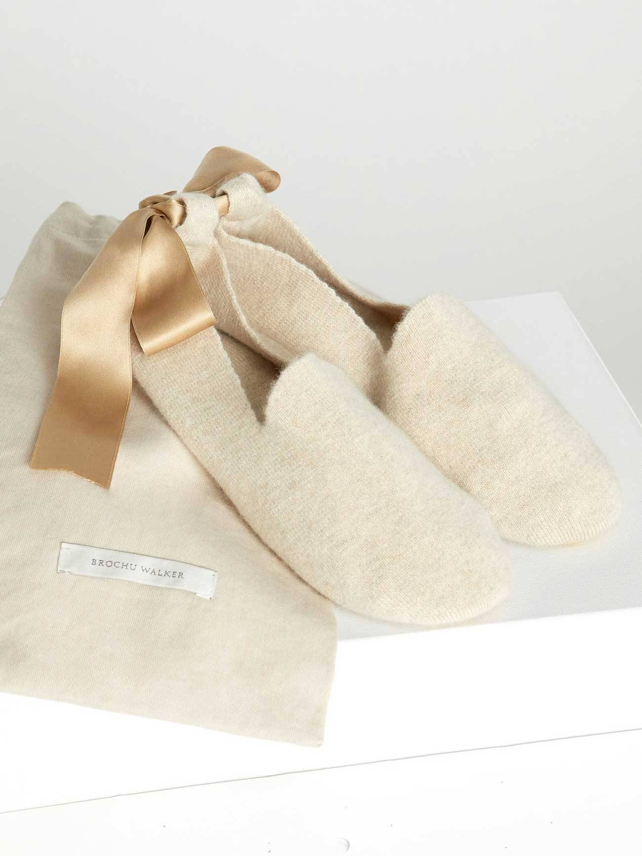 Brochu Walker The Luxe Slipper Socks; size: S; Bisque Mélange