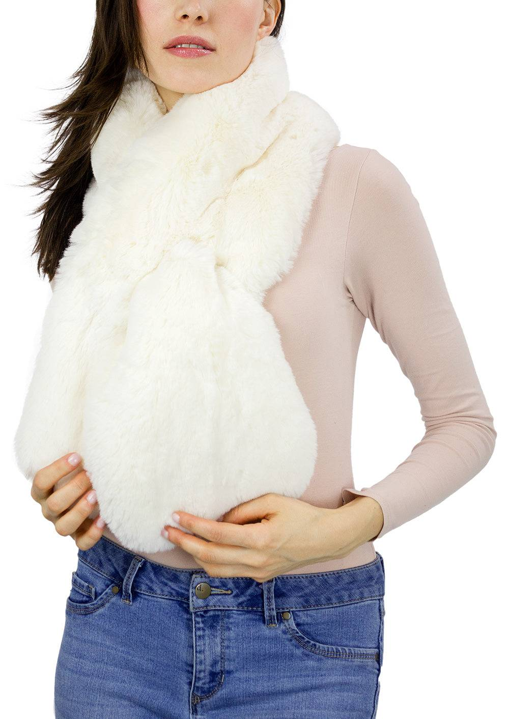 AW Items Faux Mink Pull Through Scarf