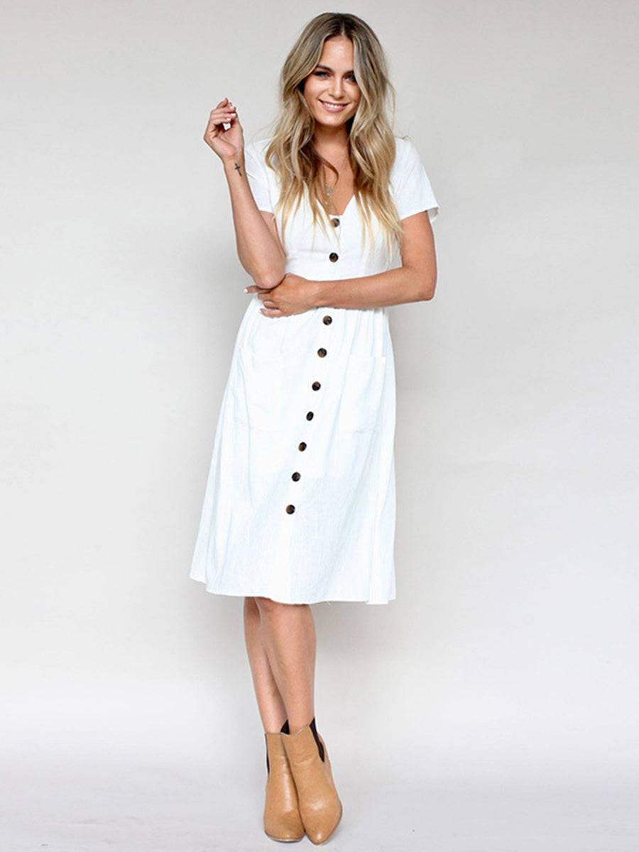 Yinuoshang Buttoned V-Neck Dress With Pockets
