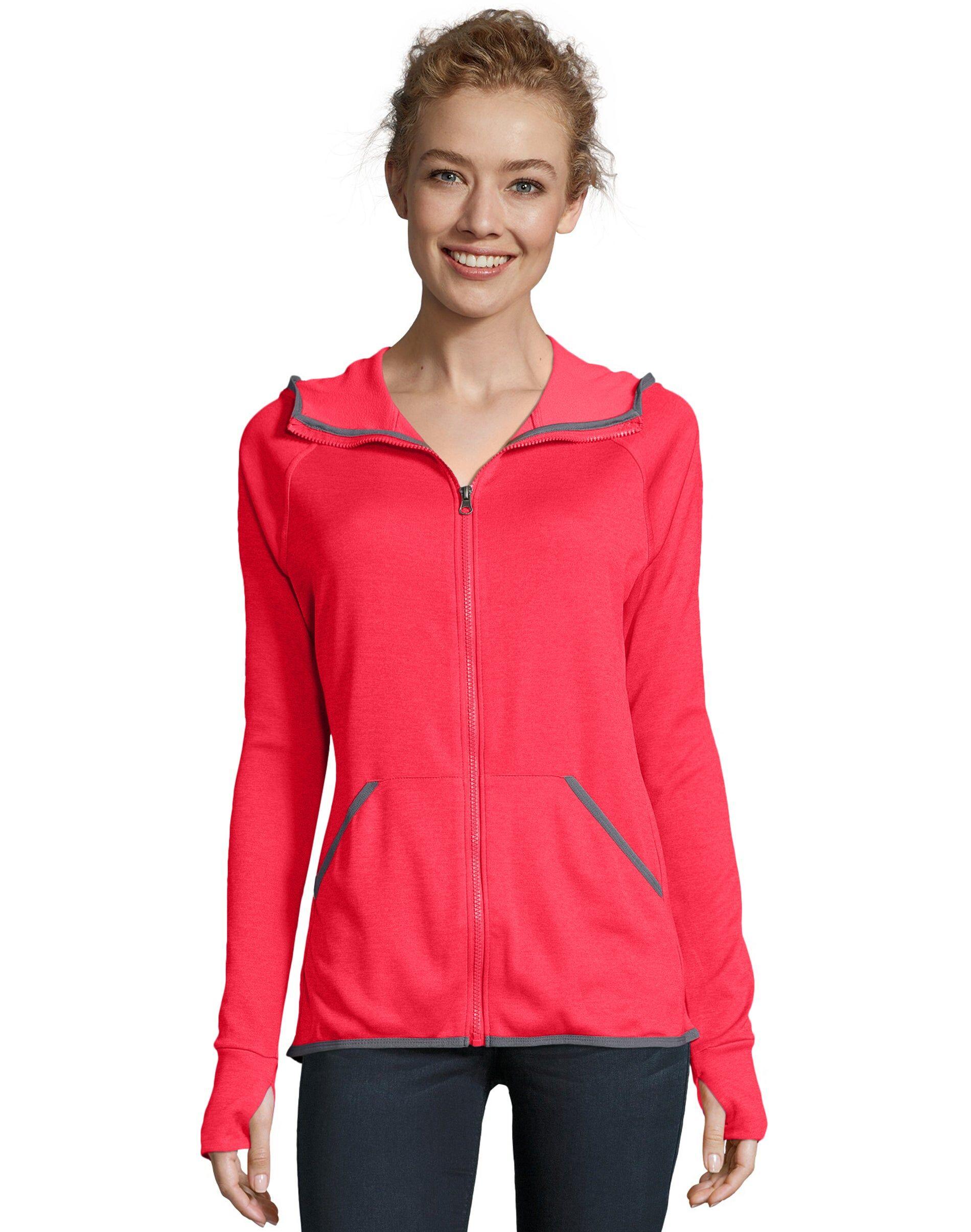 Hanes Sport Women's Performance Fleece Zip Up Hoodie Razzle Pink Heather XL