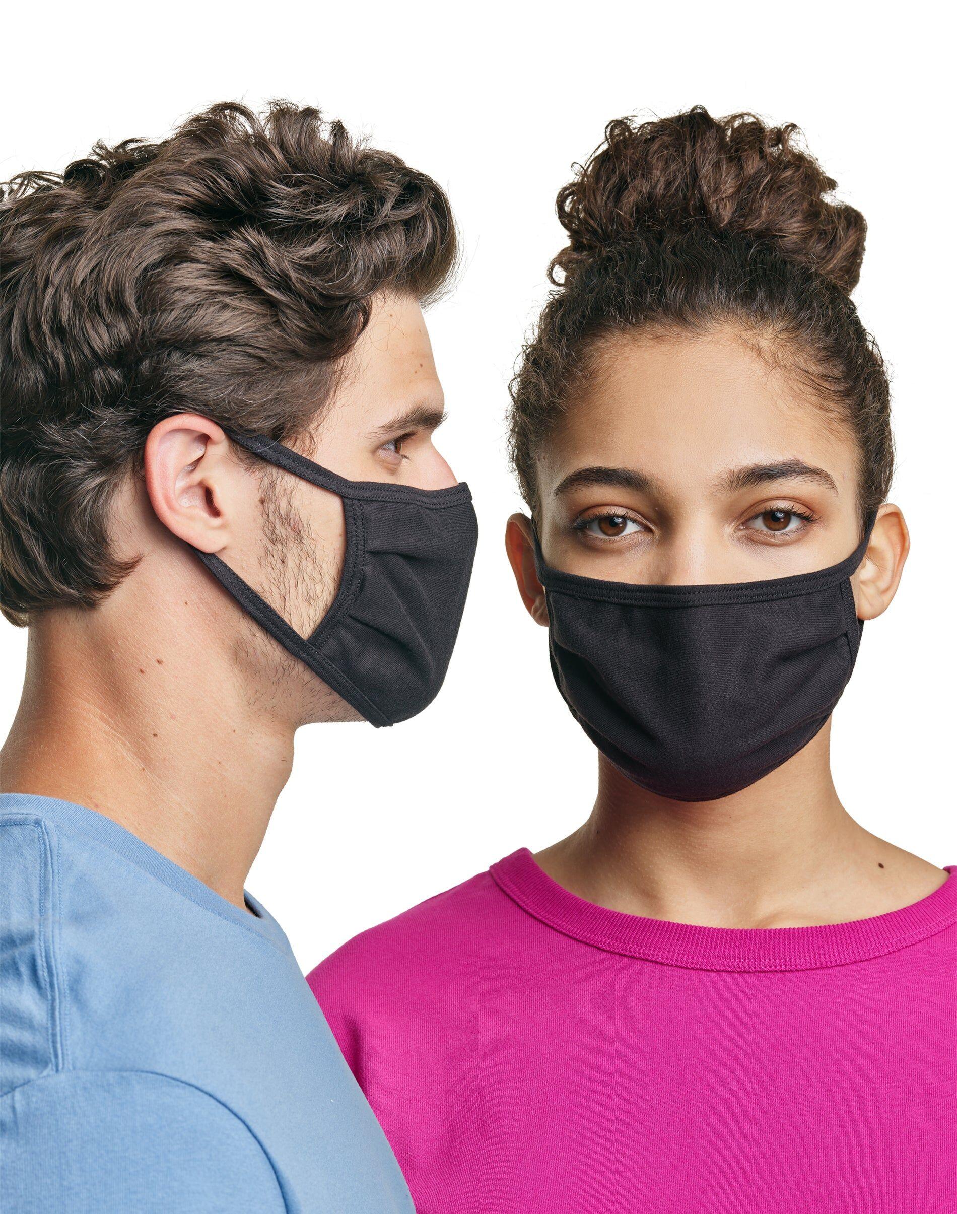 Hanes Wicking Cotton Masks, 50-Pack Black Unisex