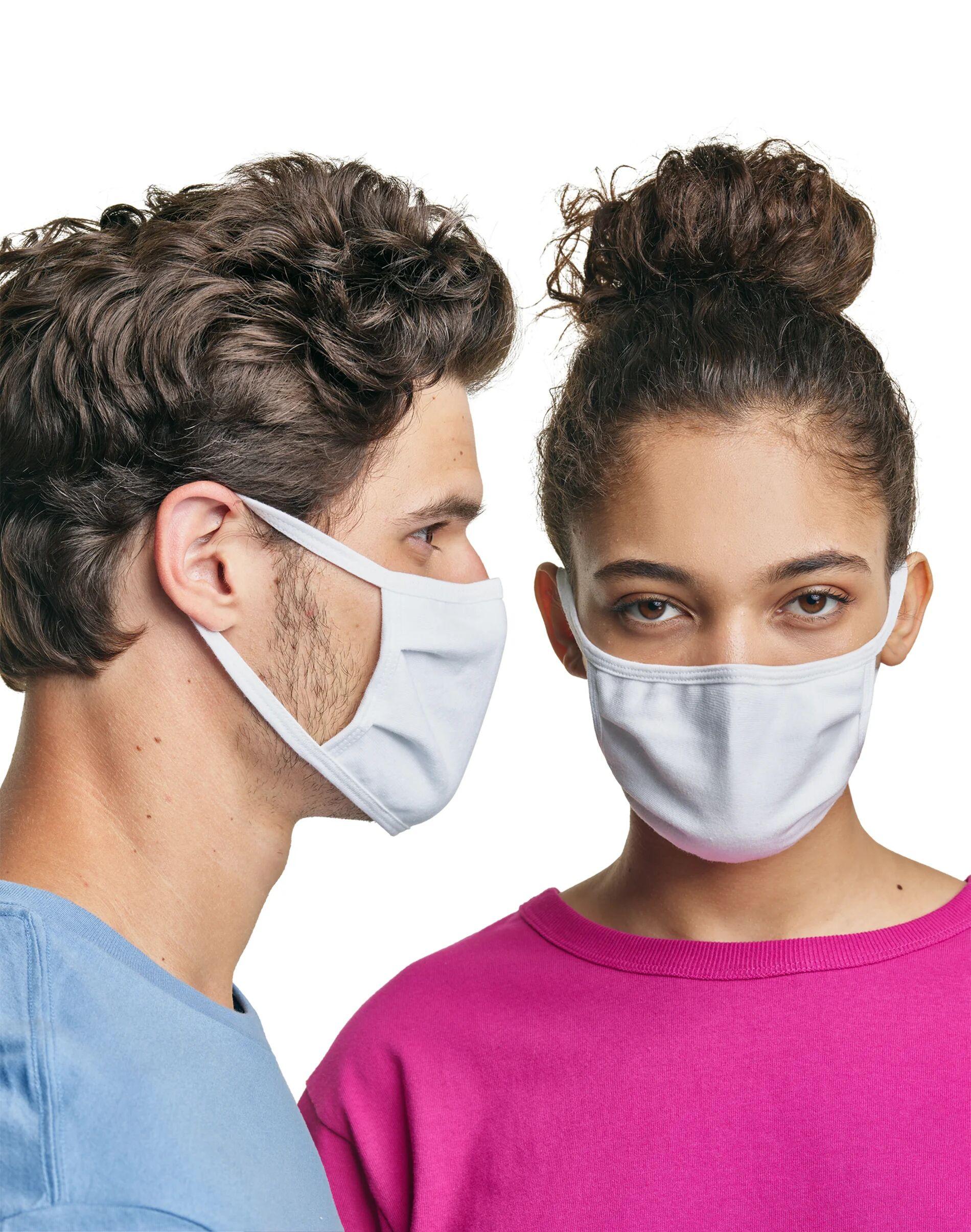 Hanes Wicking Cotton Masks, 50-Pack White Unisex