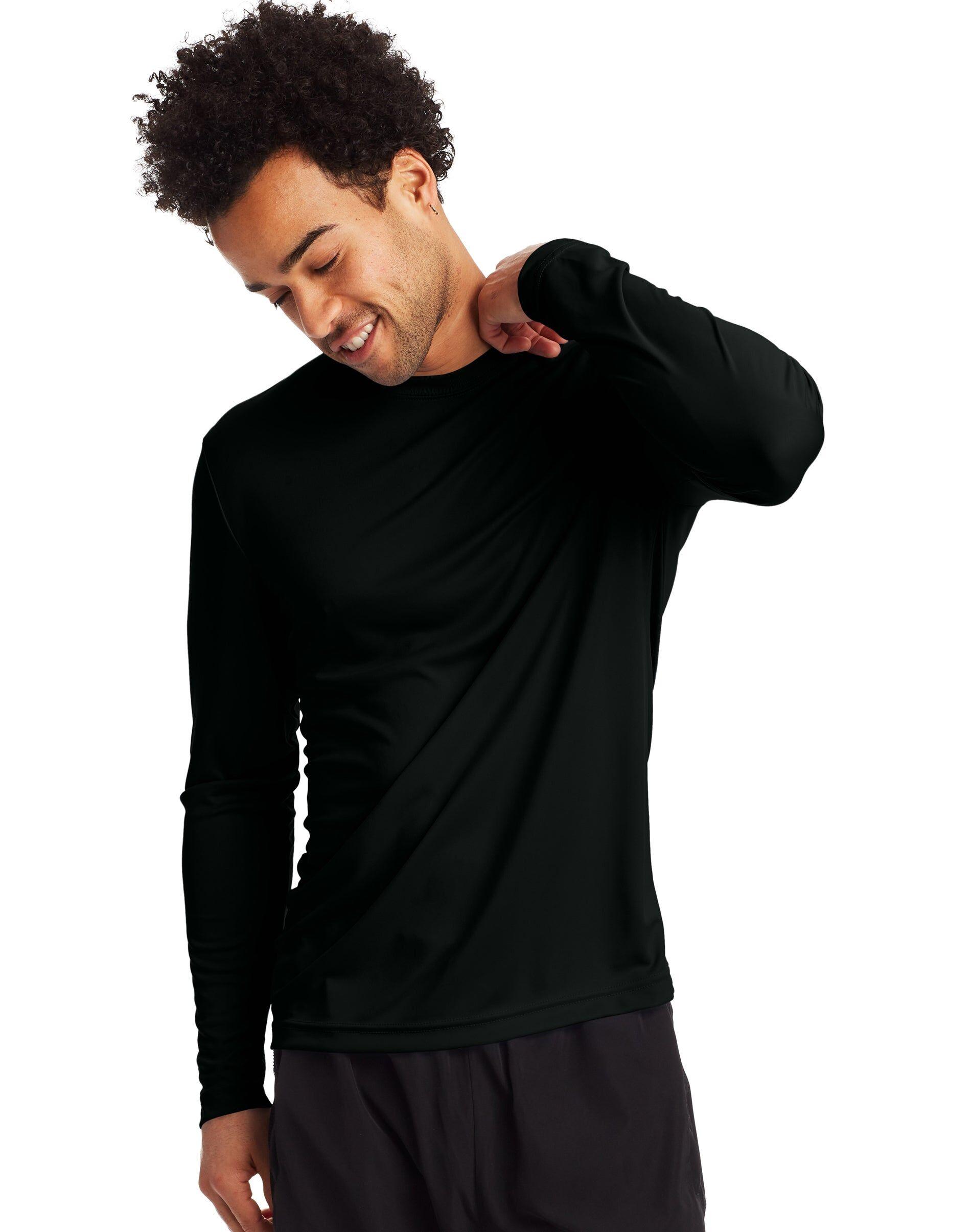 Hanes Sport Men's FreshIQ Cool DRI Long Sleeve Tee 2-Pack Black M
