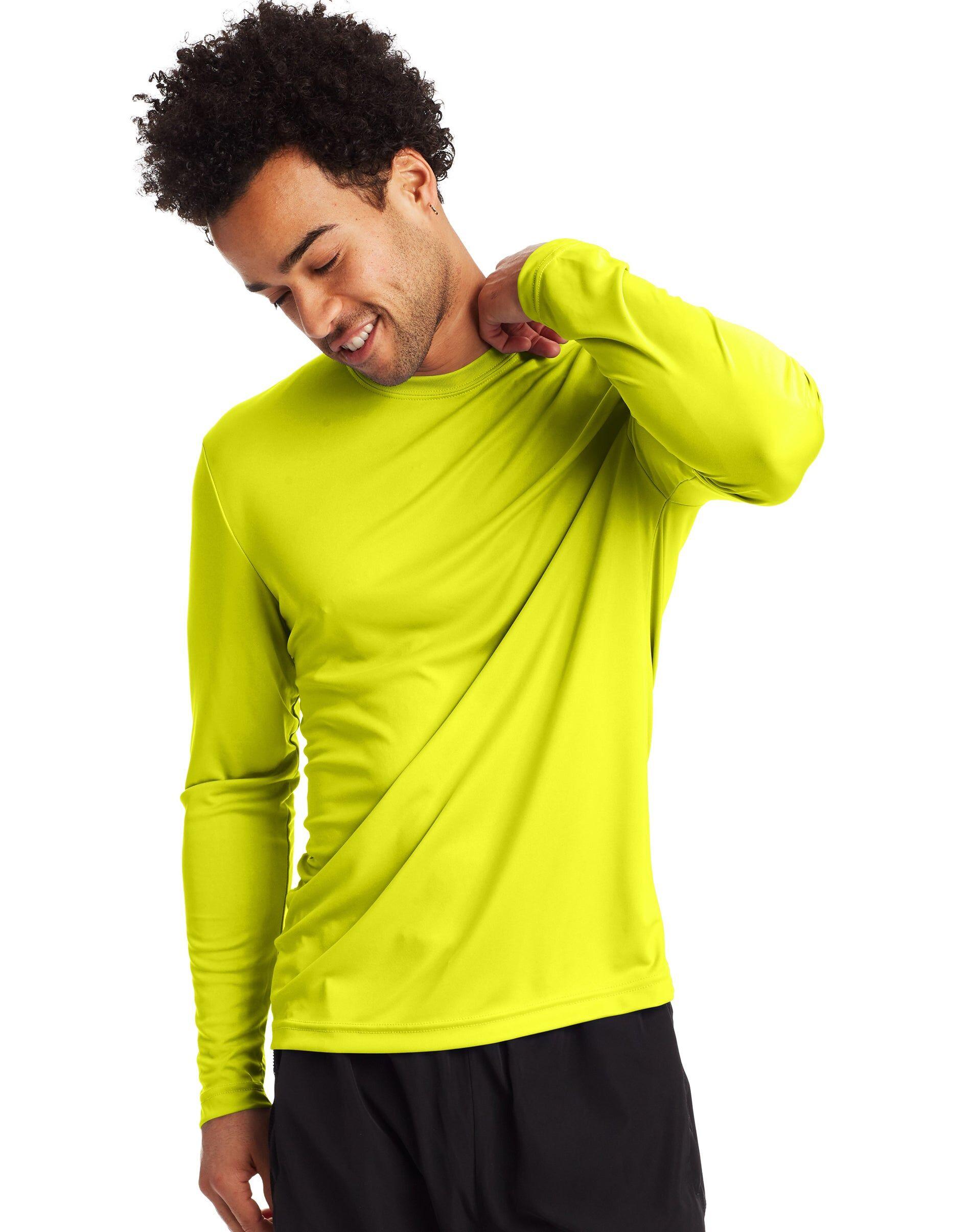 Hanes Sport Men's FreshIQ Cool DRI Long Sleeve Tee 2-Pack Safety Green L
