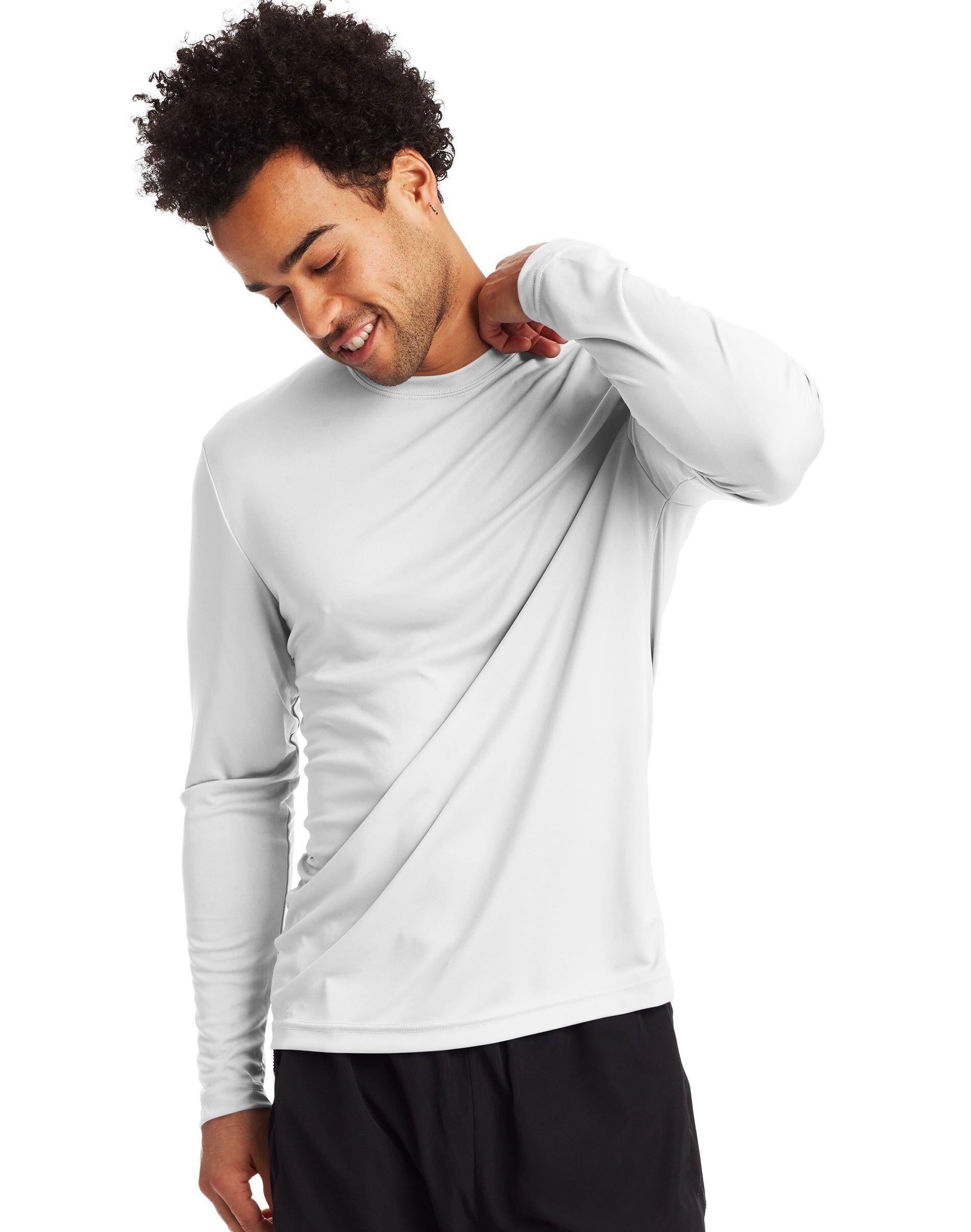 Hanes Sport Men's FreshIQ Cool DRI Long Sleeve Tee 2-Pack White L