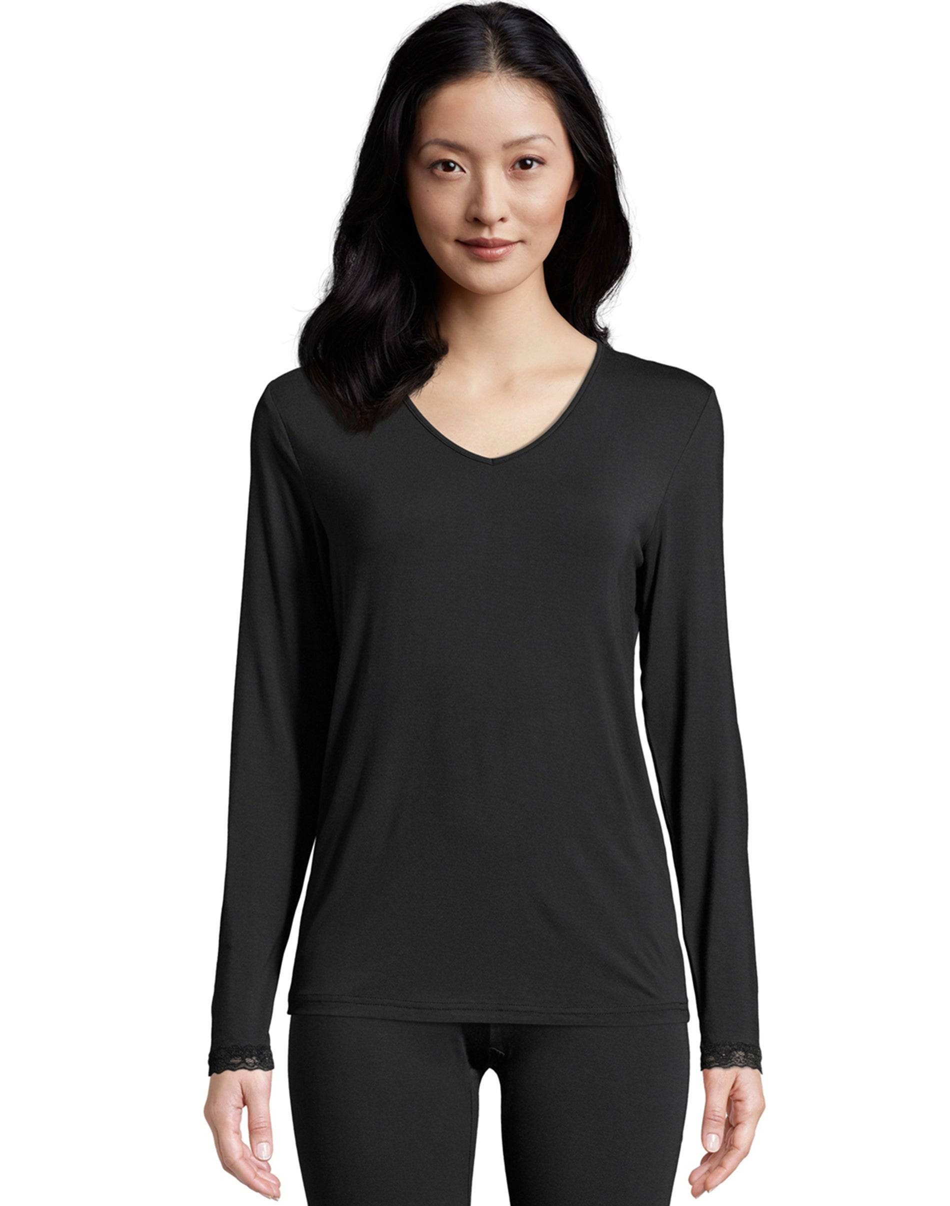 Hanes Women's Comfort Collection Thermal Top Black L