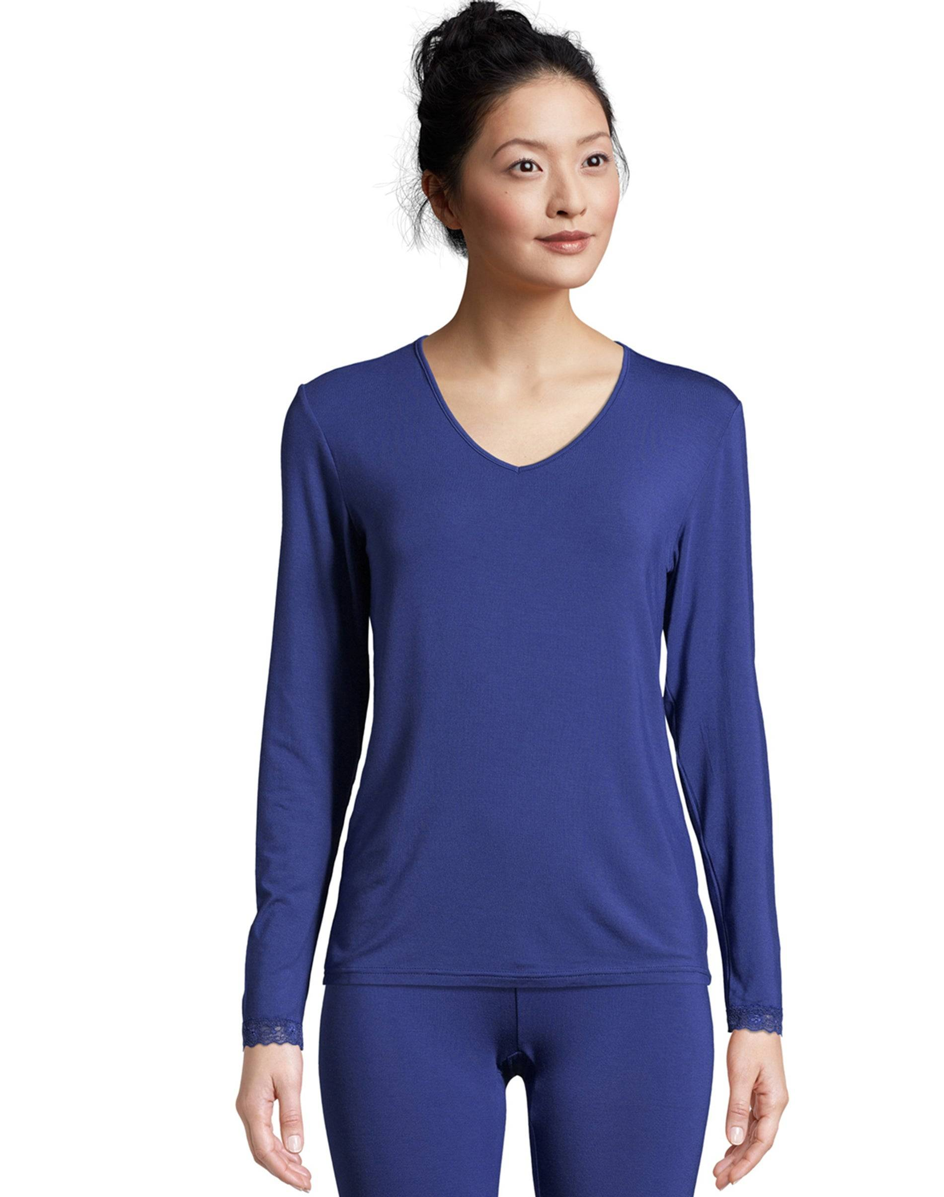 Hanes Women's Comfort Collection Thermal Top Blue XL