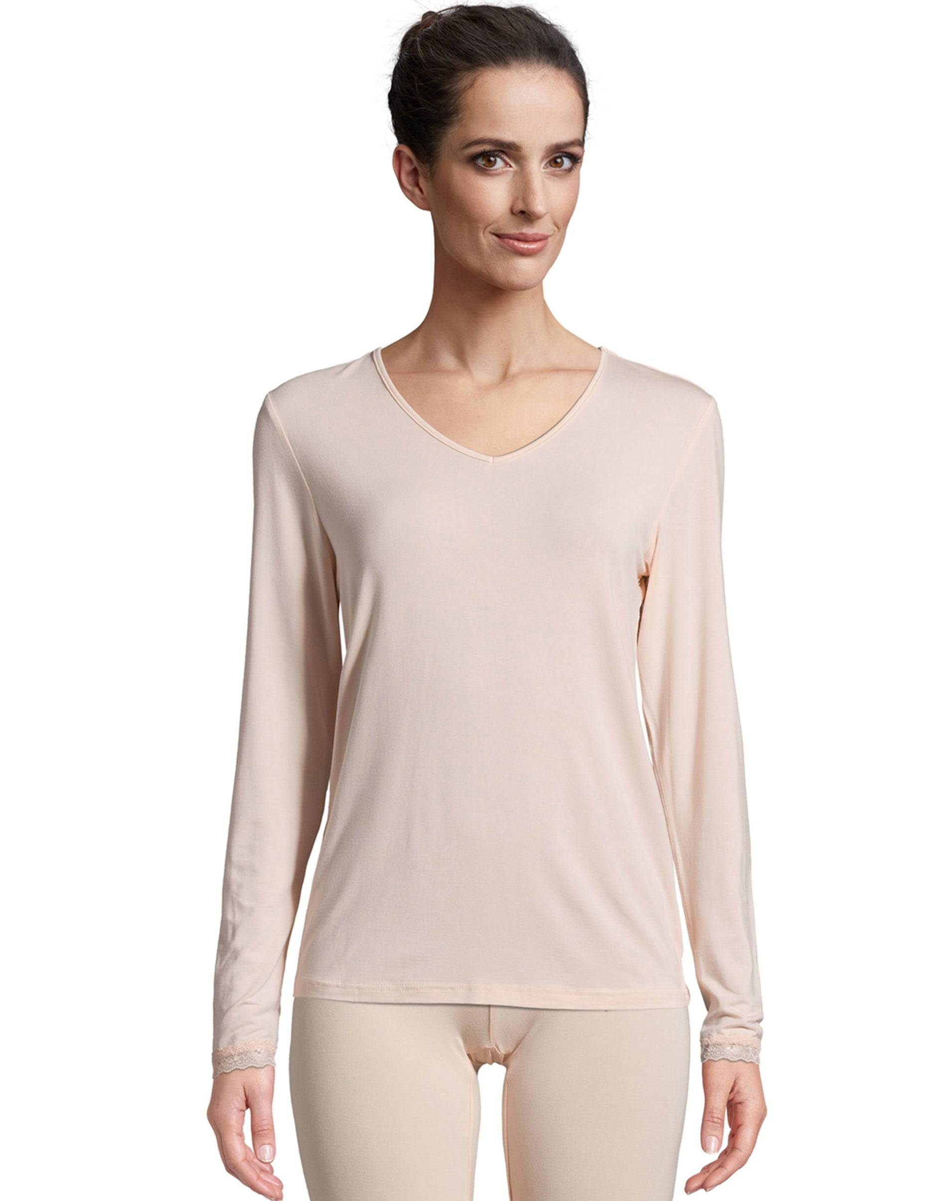 Hanes Women's Comfort Collection Thermal Top Pink L