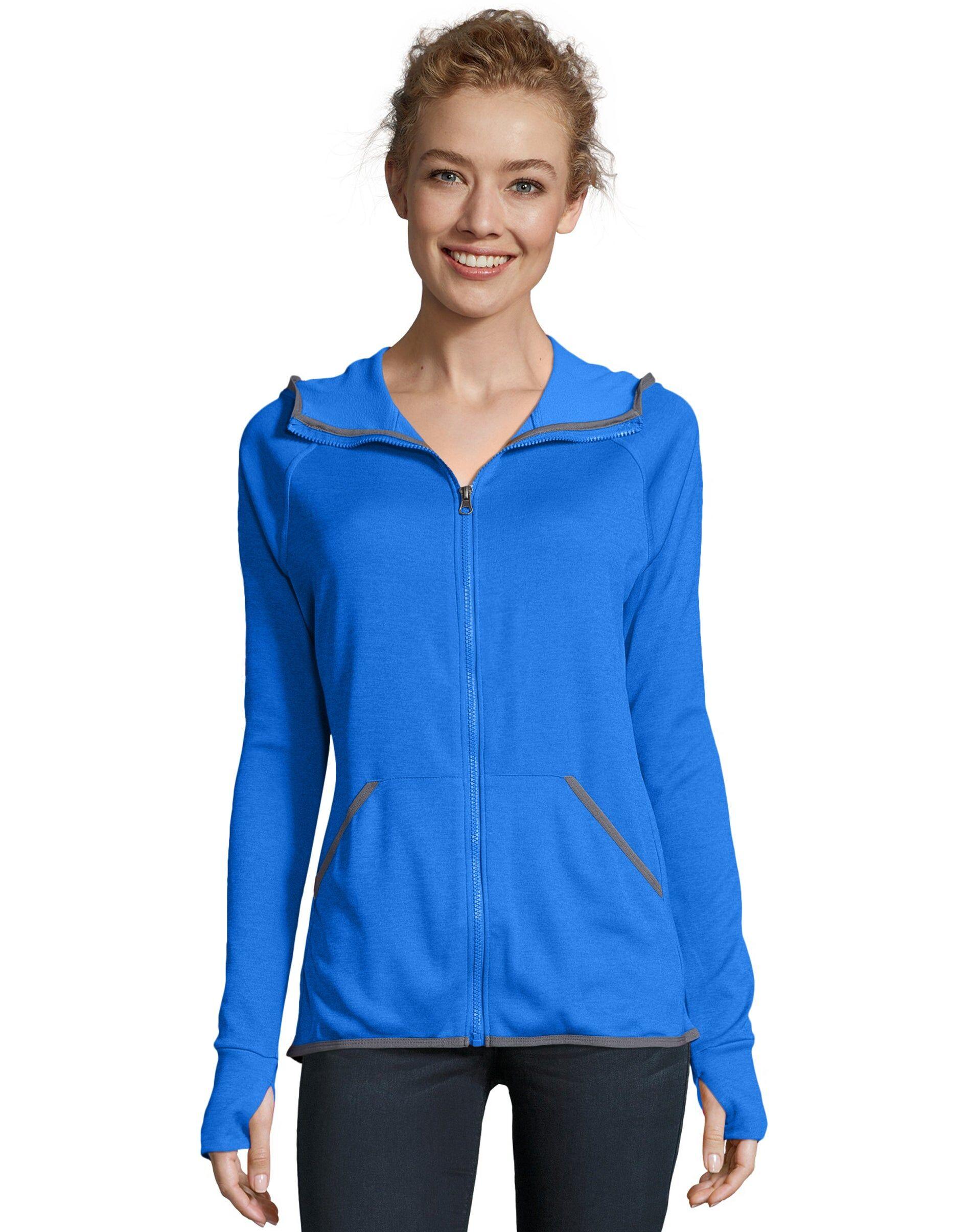 Hanes Sport Women's Performance Fleece Zip Up Hoodie Awesome Blue Heather XL