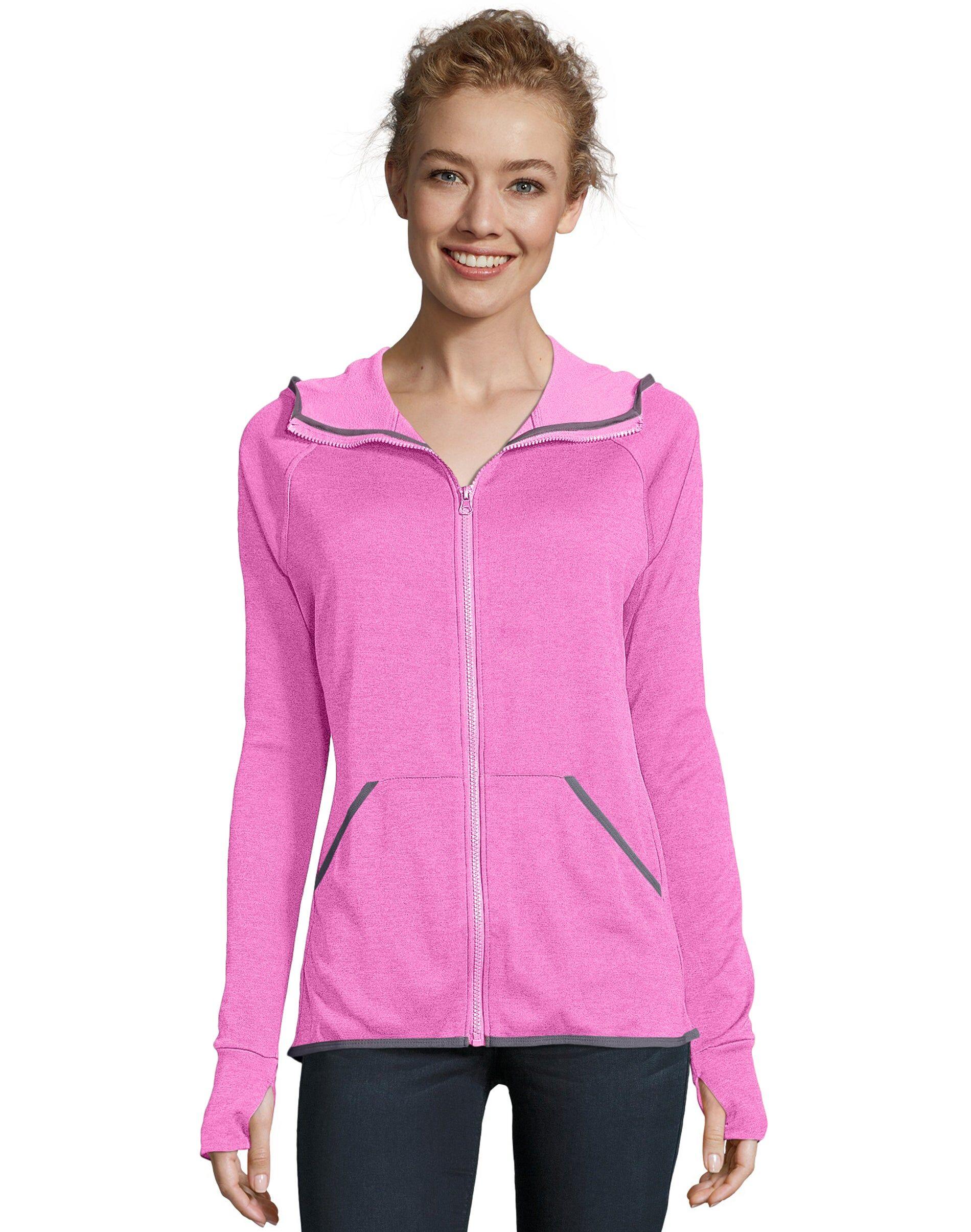 Hanes Sport Women's Performance Fleece Zip Up Hoodie Fresh Berry Heather M