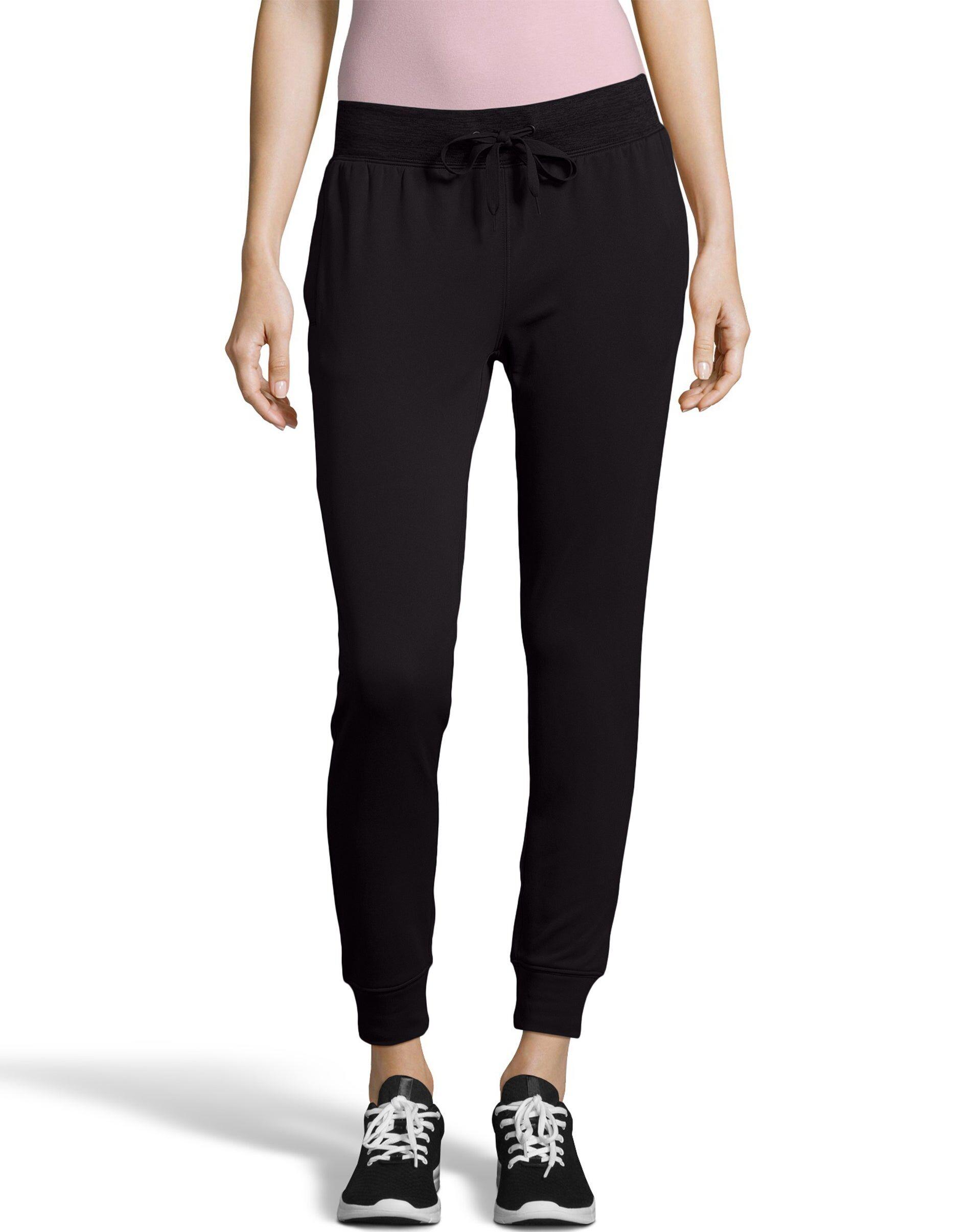 Hanes Sport Women's Performance Fleece Jogger Pants With Pockets Black/Black Heather L