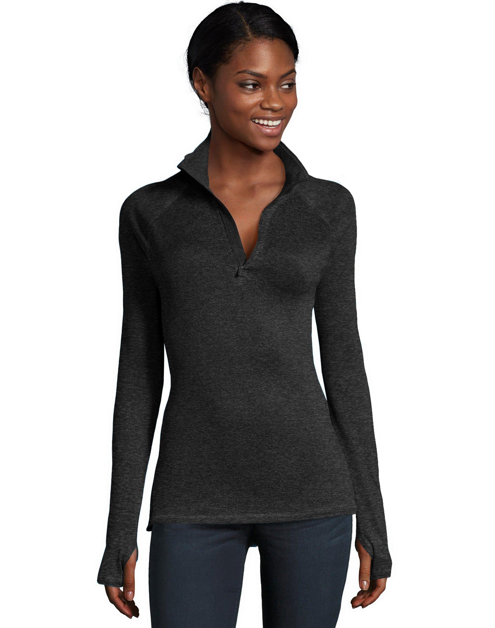 Hanes Sport Women's Performance Quarter Zip Sweatshirt Black Heather L
