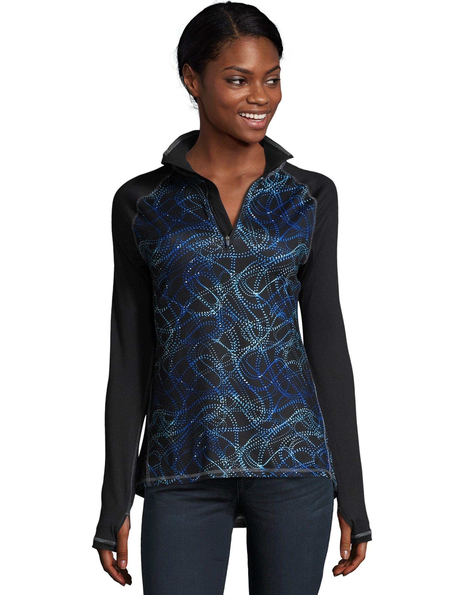 Hanes Sport Women's Performance Quarter Zip Sweatshirt Ebony/Blue Swirl Dots S