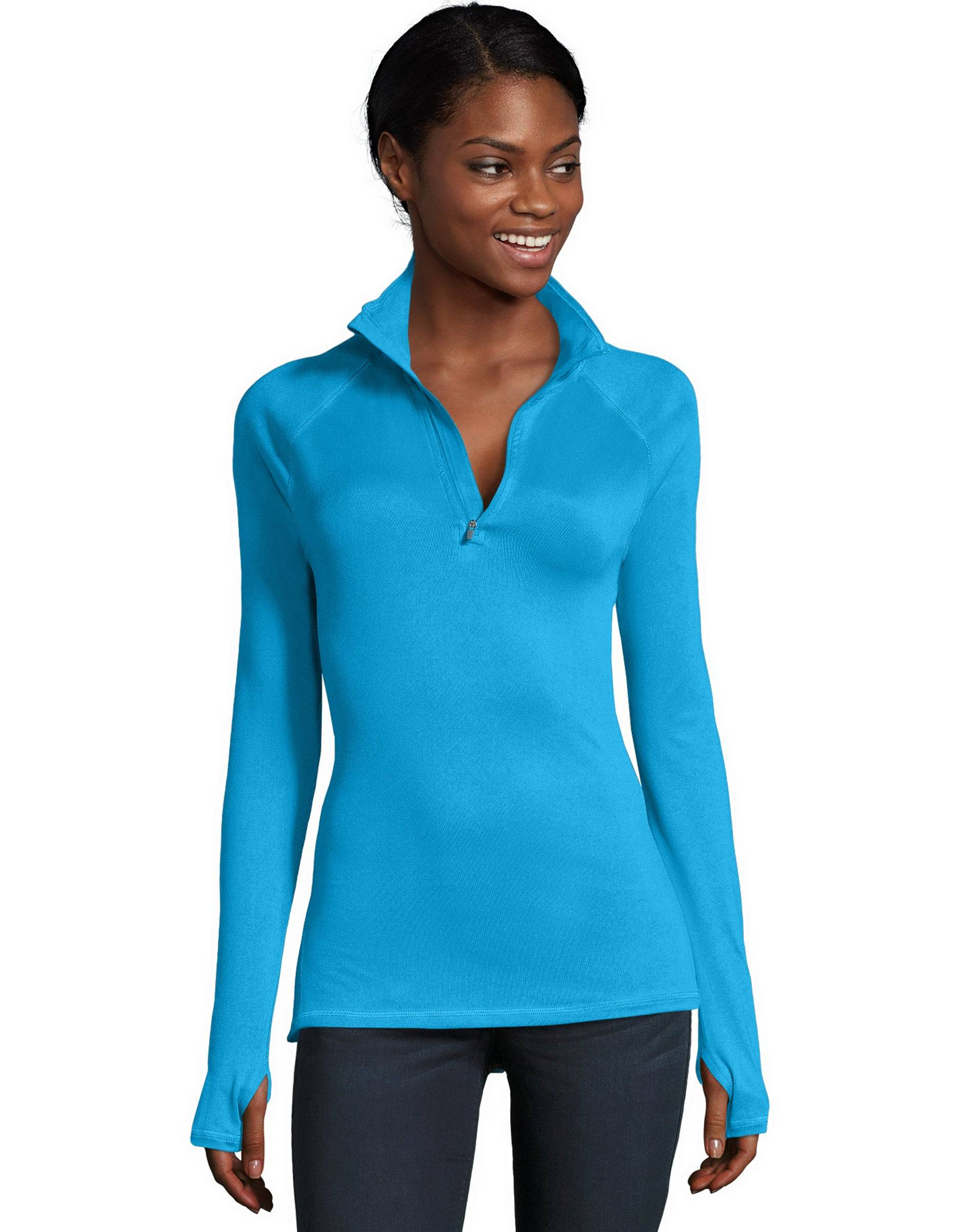 Hanes Sport Women's Performance Quarter Zip Sweatshirt Underwater Blue 2XL