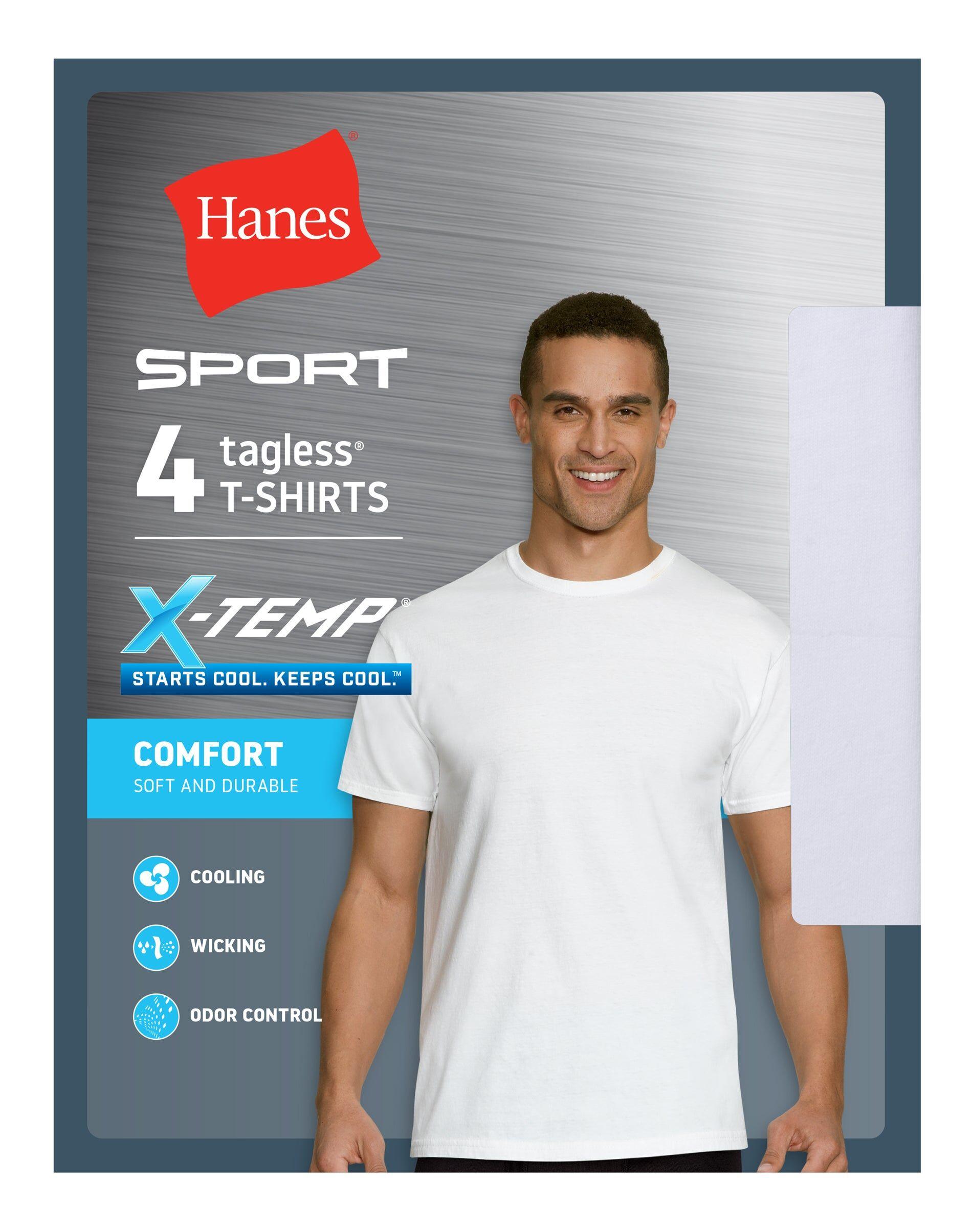 Hanes Ultimate Men's X-Temp Sport Crewneck Undershirt 4-Pack White XL