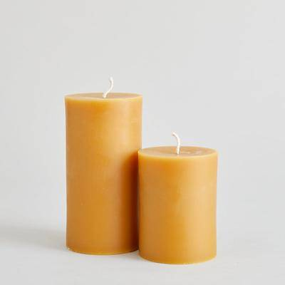 Bloomist Beeswax Pillars Candle in Green, Small