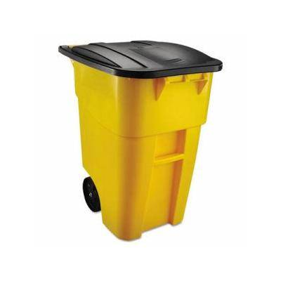 """Rubbermaid Commercial """"""""""""Rubbermaid Brute 50 Gallon Rollout Trash Can with Lid, Yellow (RCP9W27YEL)"""""""""""""""