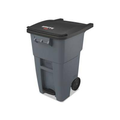 "Rubbermaid Commercial """"""Rubbermaid Brute 50 Gallon Step-On Rollout Trash Can, Gray (RCP1971956)"""""""