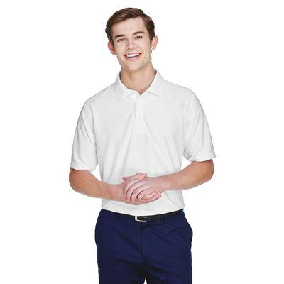 UltraClub 8413 Men's Cool & Dry Tonal Stripe Performance Polo Shirt in White size 5XL   Polyester