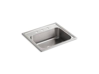"""Toccata™ 25"""" x 22"""" x 7-11/16"""" top-mount single-bowl kitchen sink with 3 faucet holes"""