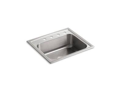 """Toccata™ 25"""" x 22"""" x 7-11/16"""" top-mount single-bowl kitchen sink with 4 faucet holes"""