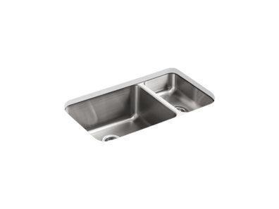 """Undertone® 31-1/2"""" x 18"""" x 9-3/4"""" Undermount high/low double-bowl kitchen sink"""