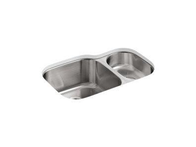 """Undertone® 30-3/4"""" x 20-1/8"""" x 9-5/8"""" Undermount high/low double kitchen sink"""