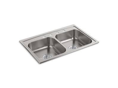 """Toccata™ 33"""" x 22"""" x 6"""" top-mount double-equal bowl kitchen sink"""