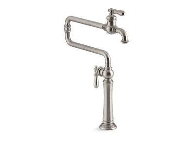 "Artifacts® single-hole deck-mount pot filler kitchen sink faucet with 22"" extended spout"