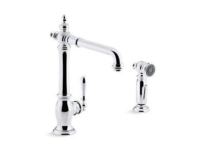 """Artifacts® 2-hole kitchen sink faucet with 13-1/2"""" swing spout and matching finish two-function sidespray with Sweep® and BerrySoft® spray, Victorian spout design"""