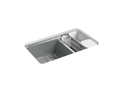"Riverby® 33"" x 22"" x 9-5/8"" undermount large/medium double-bowl workstation kitchen sink with accessories and 5 oversized faucet holes"
