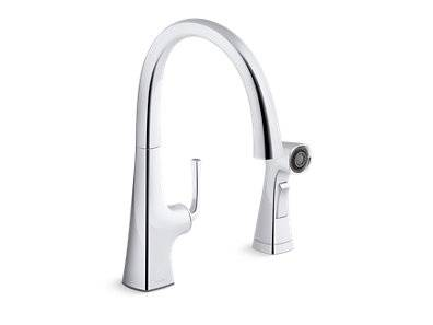 Graze® Kitchen sink swing spout faucet with sidespray