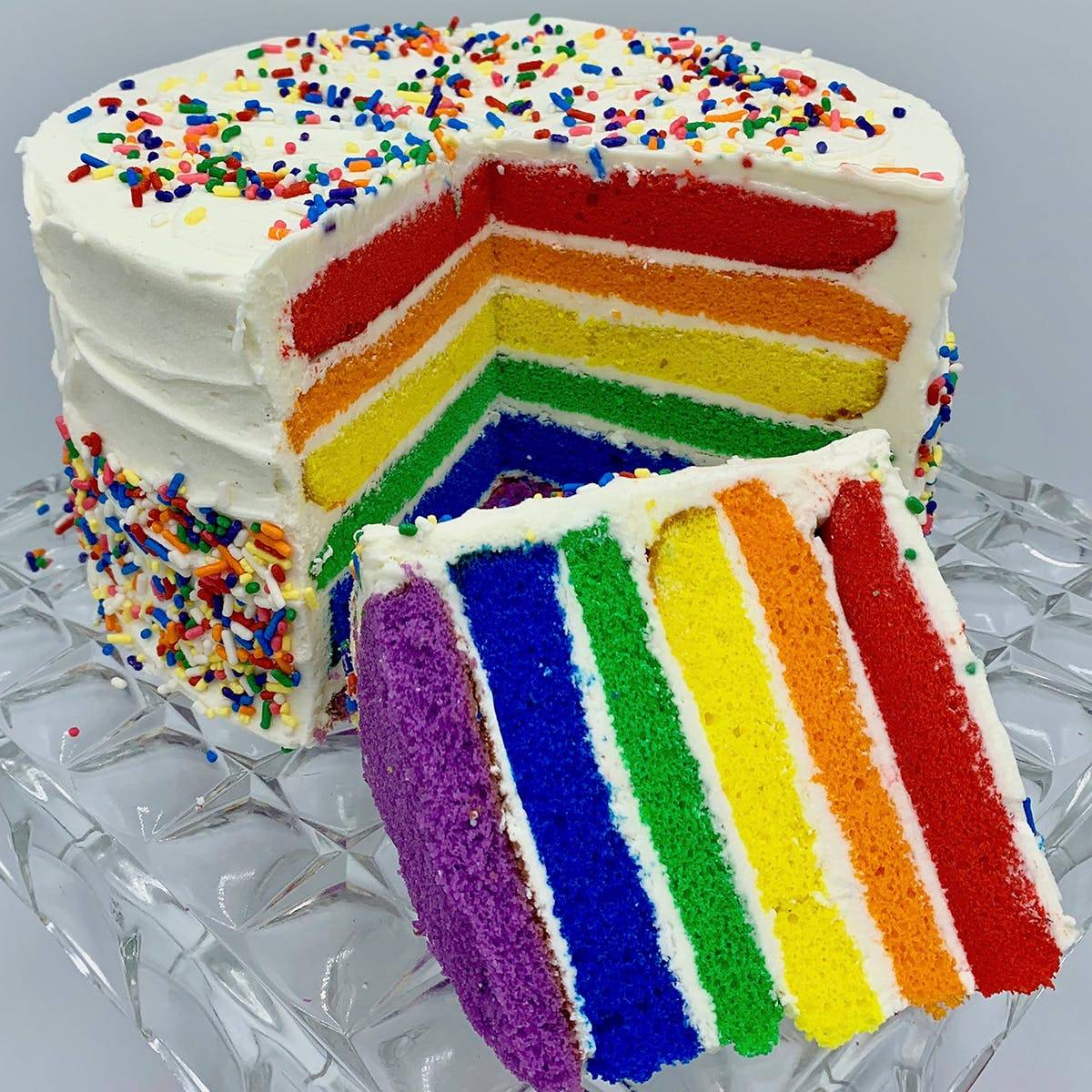 """The Goddess and Grocer - Rainbow Cake - 8"""""""